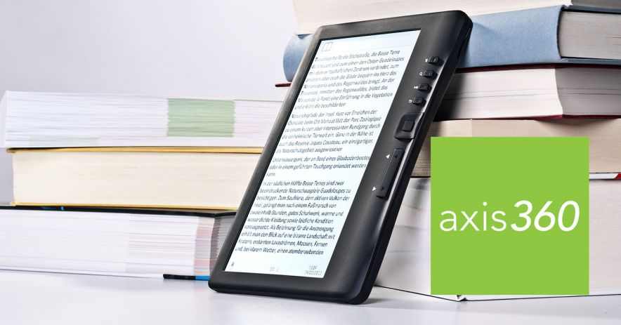 ebook reader leans against a pile of books.  Axis 360 logo is in the corner