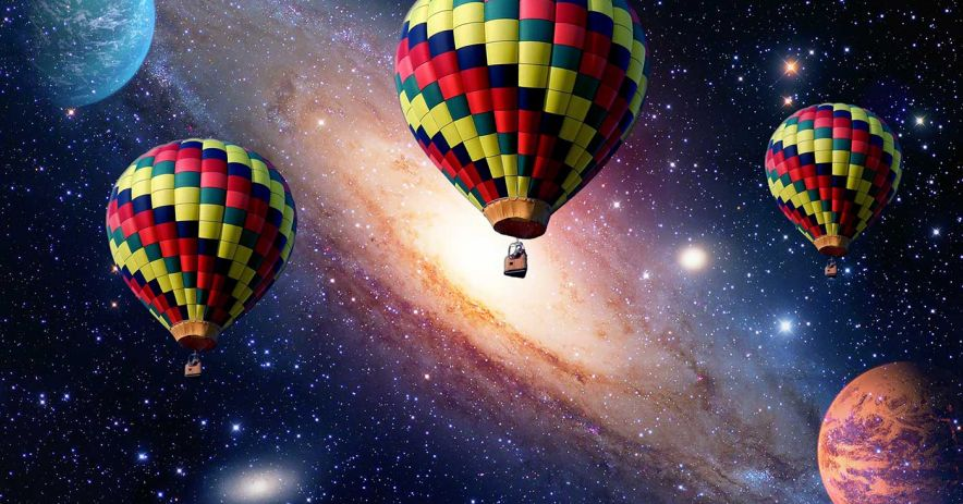 hot-air balloons in space
