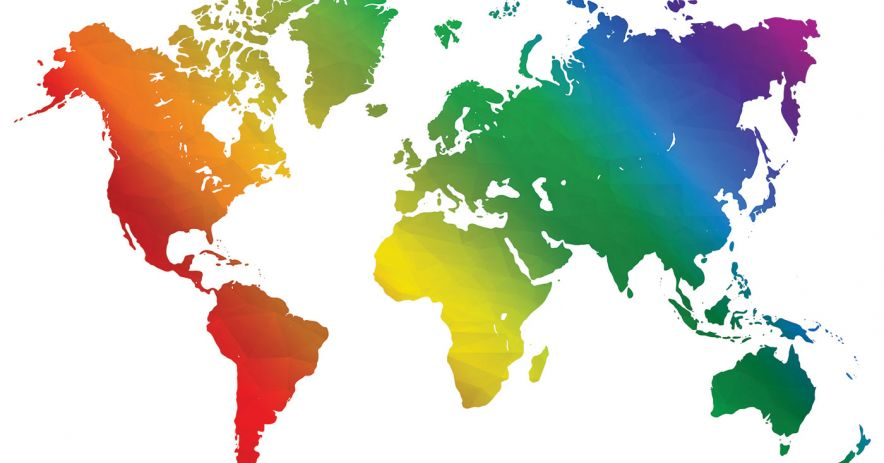 outline map of the world continents filled with rainbow colors