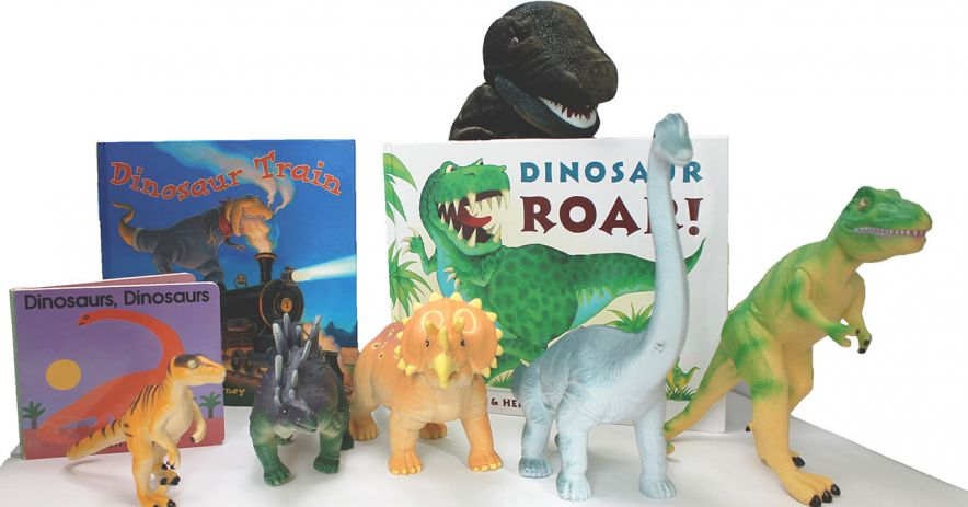 Wee Play y Learn Activity Box con libros y juguetes de dinosaurios