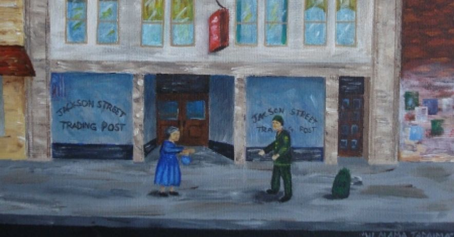 Artist Tammy Dong depicts the meeting between Moffet and his mother near the corner of 6th and Jackson in San Jose's Japantown. Collection of Ralph Pearce.