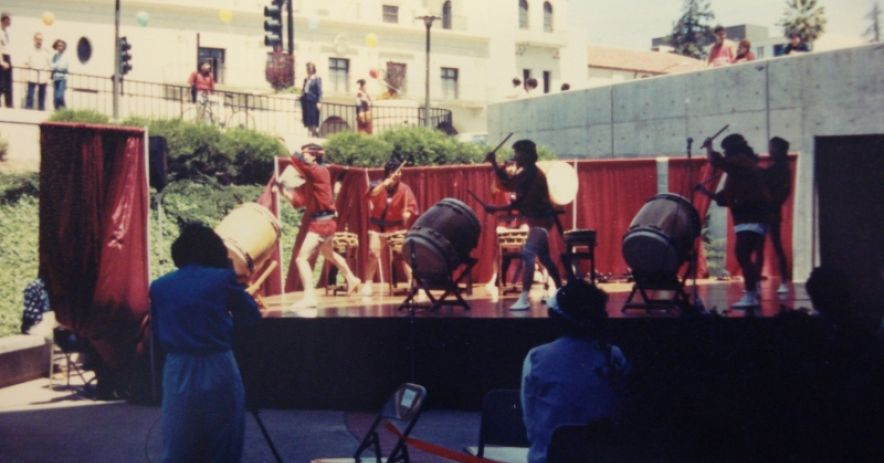 The day's event get going with a rousing performance by the San Jose Taiko Group.