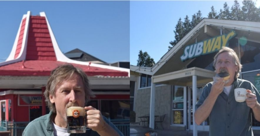 On the left I'm enjoying a mug of A&W root beer in front of the old A&W building which is now home to Mr. Chau's. On the right, I'm enjoying a coffee and donut in front of the old Mister Donut building. Previously an H.Salt Esq. Fish & Chips franchise, it is now a Subway.   Photos ©Ralph M. Pearce.
