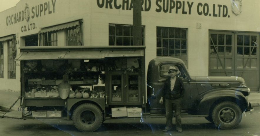 Cesare with his new 1941 GMC truck. He had a custom horn hooked up to his exhaust pipe which gave a unique announcement of arrival to his residential customers. Photo courtesy of the Bini Family.