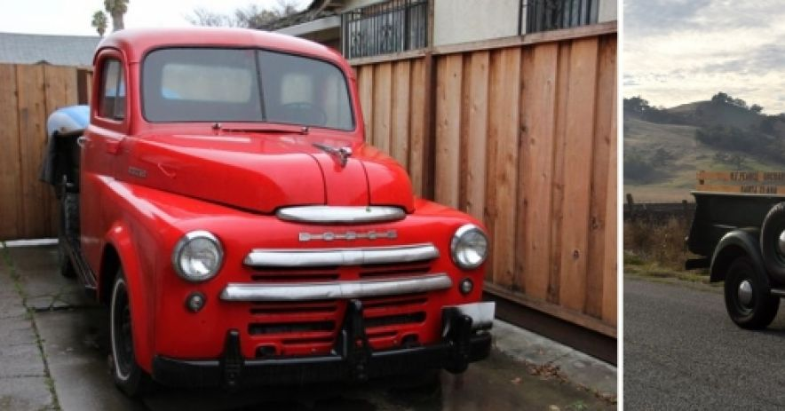 Image on Left: Here's my current truck, a 1948 Dodge which I purchase in July of 2013 for $1800.  That's a pretty good price these days, though the Dodges don't seem to command the same prices as the more popular Chevys and Fords.  The flathead 6 had been rebuilt, but I needed to replace the tires, brake system, clutch, bed wood, and a variety of miscellaneous items. Most of the work was done with the help of my dad, who came over for a few hours every week for about a year.  Image on Right:  Here's the fin