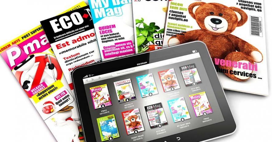Large tablet with online magazines sitting atop a pile of five print magazines.