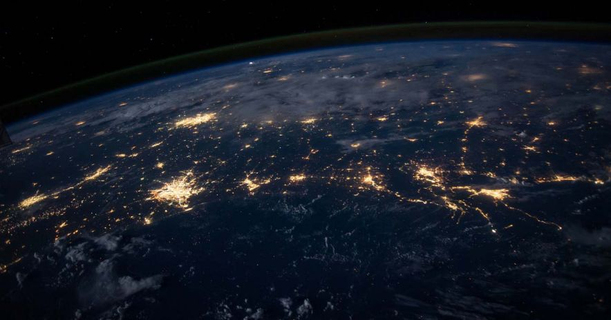 Veins of light from cities all over the Earth as seen from space.