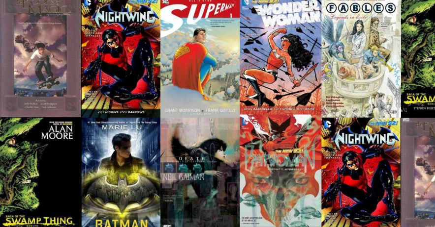 DC Comic books arranged as cover art flow.
