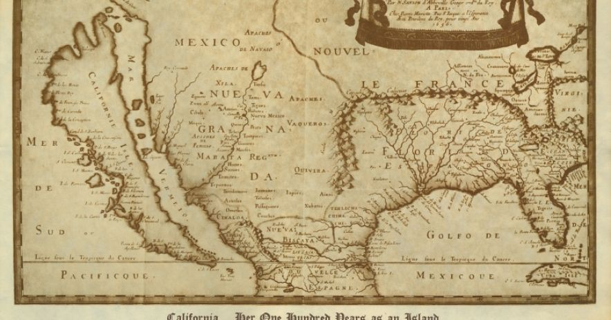 A 1656 map of Sanson's showing North America (with California depicted as an island)