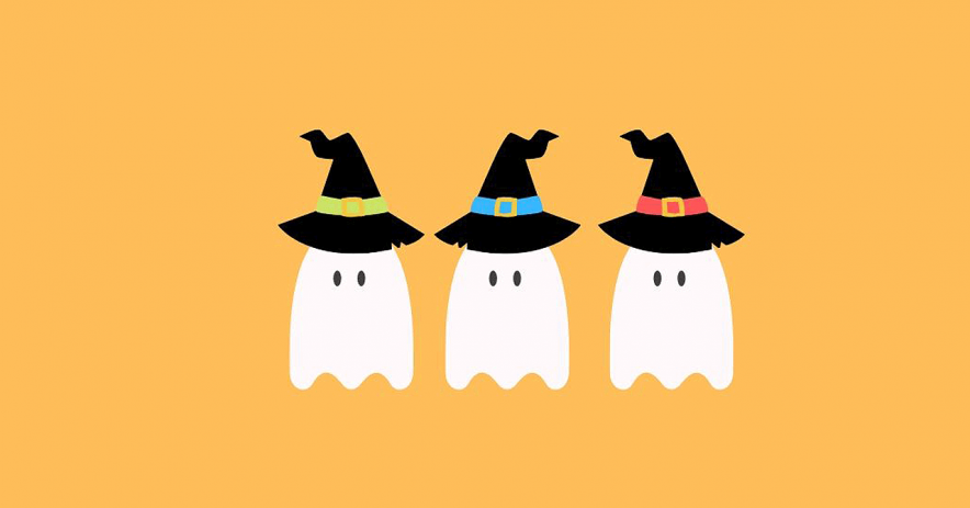 Ghosts with witches hats on a light orange background