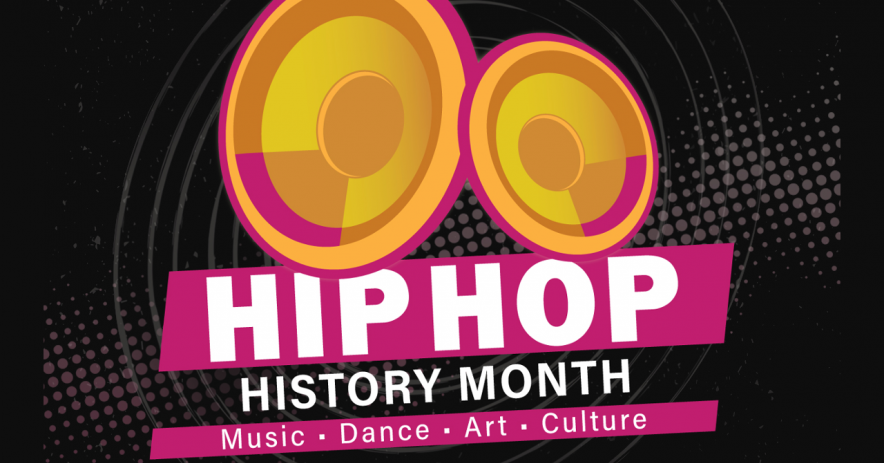 Hip Hop History Month - artwork of two speakers with background of dots.
