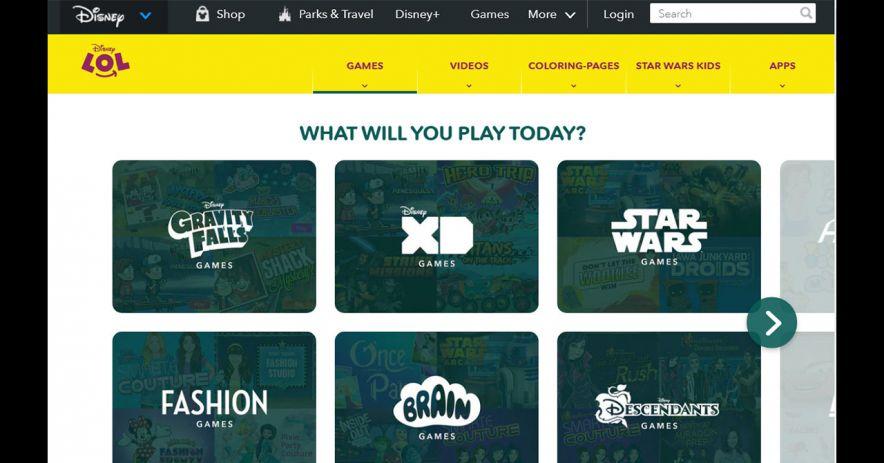 迪士尼遊戲網站的屏幕截圖。