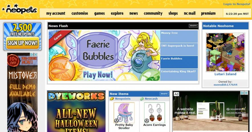 Neopets.com網站的屏幕截圖