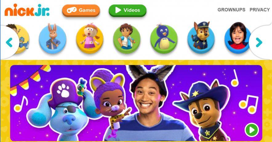 Nick Jr.網站的屏幕截圖。