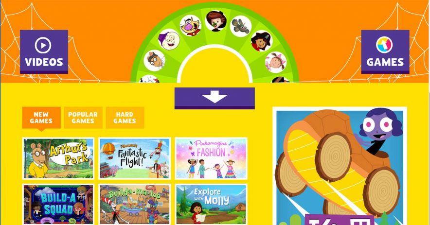 PBS Kids網站的屏幕截圖。