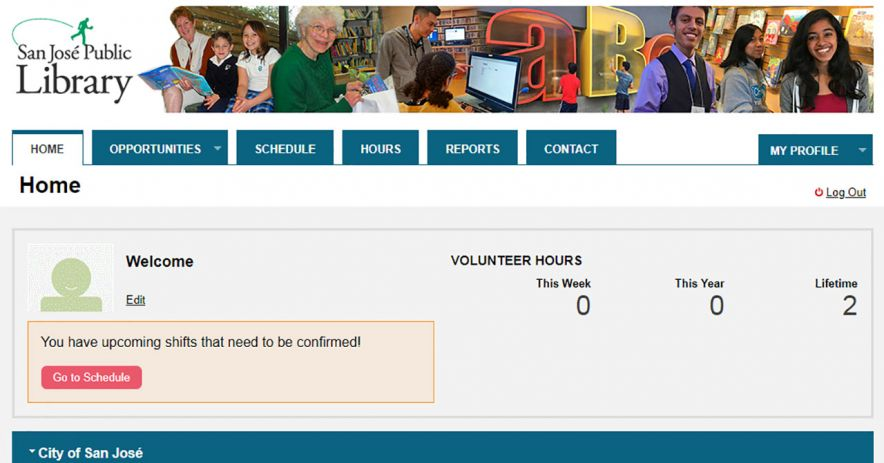 Screenshot of myvolunteerpage.com after logging in