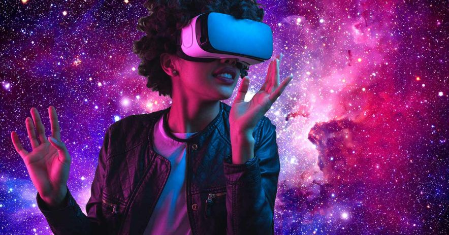 Girl with virtual reality goggles against a starscape.
