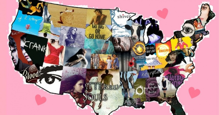 United states map made out of YA book covers on a light pink background
