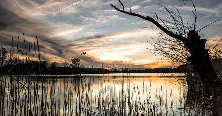 Một hồ nước lúc chạng vạng