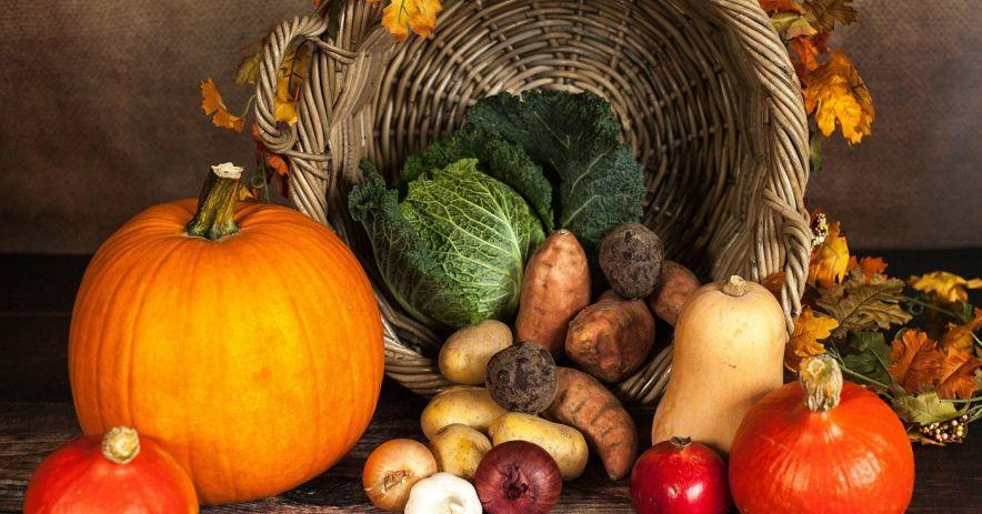 cornucopia con calabaza y otras verduras
