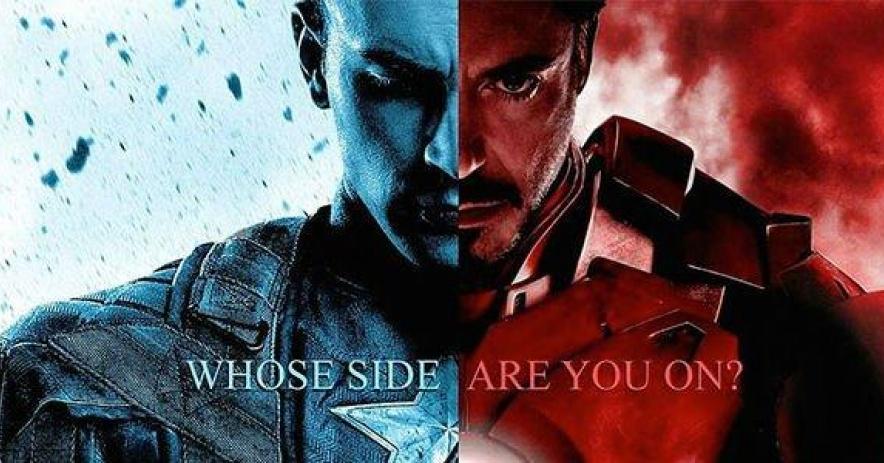 Estandarte de capt. América y Iron Man con las palabras, ¿de qué lado estás?