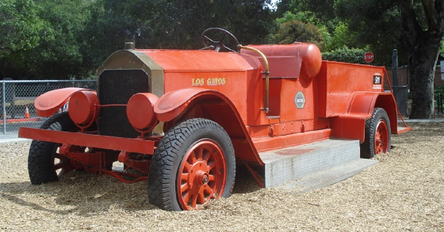 Image:  The old-fashioned fire engine at Oak Meadow Park.  Photo by Ralph Pearce