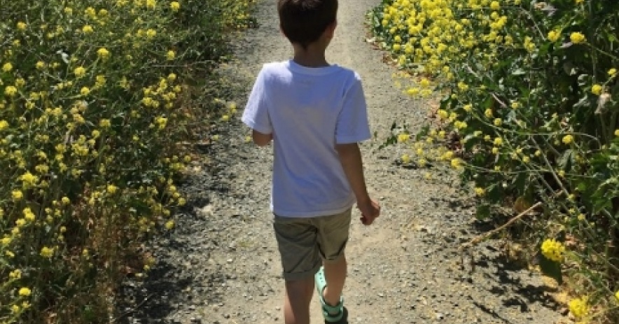child walking down a trail at Alviso Marina County Park