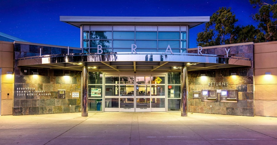 Berryessa Branch library lit up at evening