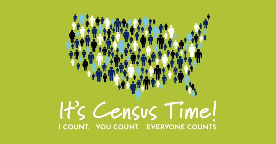 Unites State Map filled in with people. Text: It's Census Time! I count. You count. Everyone counts!