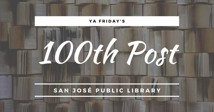 YA Friday's 100th Post in white text over several open books.