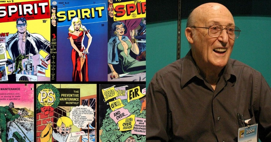 Will Eisner Comics tiled, covering the left side of the image, with an image of Will Eisner on the right at the 2004 San Diego Comic Con