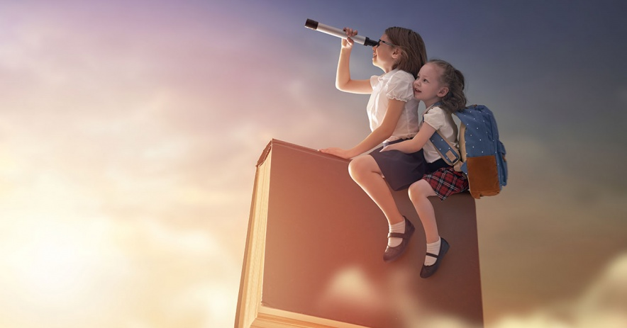 Two sisters take an imaginative flight of adventure riding a book through the clouds.