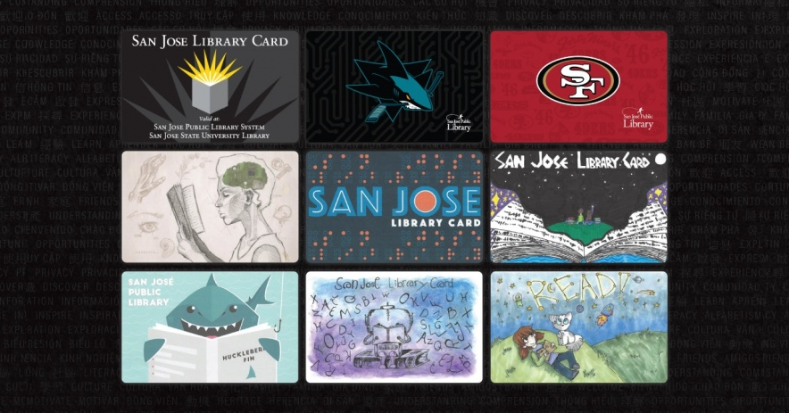 All 9 library card designs, including the classic, SJ Sharks, 49ers, and design contest cards.