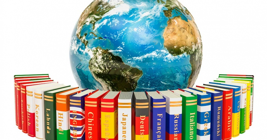 Books colored like country flags representing different languages surrounding a globe of the Earth.
