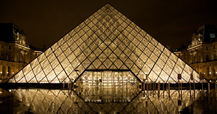 Glass pyramid, the Louvre museum in France