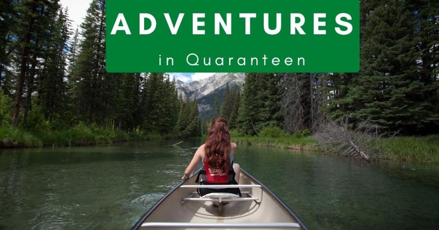 Teen Girl en bote en un río de montaña con aventuras en texto de cuarentena