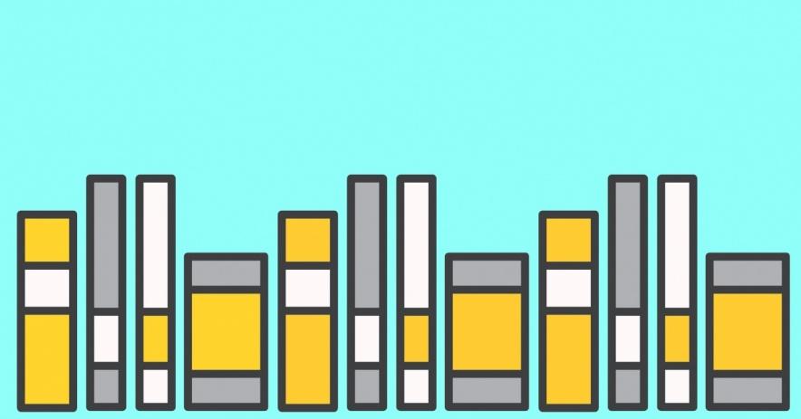 libros sobre un fondo azul claro