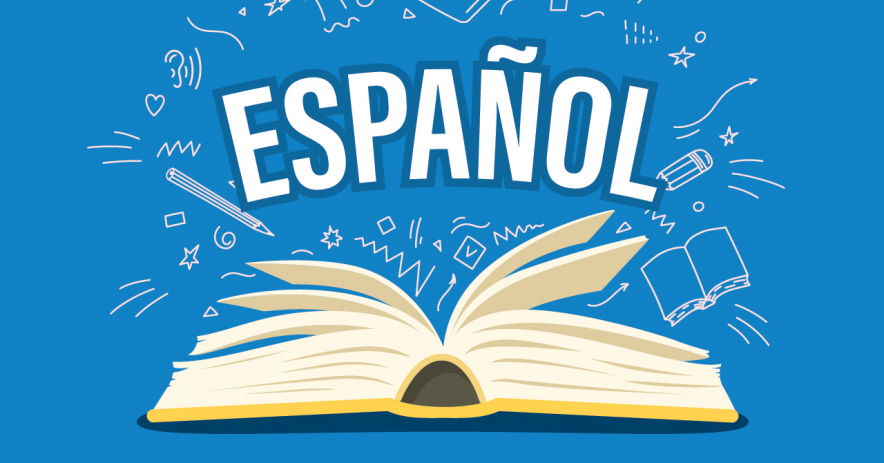 texto: español; imagen: libro abierto sobre fondo azul con iconos de lectura y escritura
