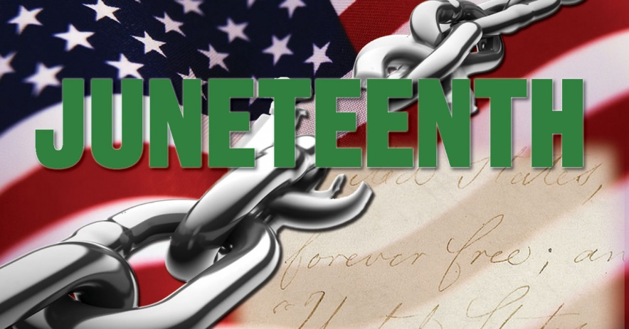 Image of the word Juneteenth over a chain across the USA flag and the words on parchment forever free.