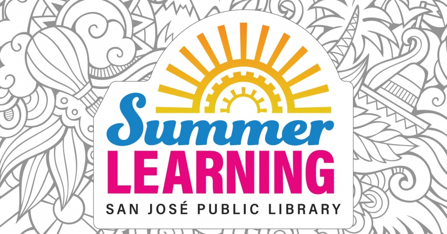 A graphic of our Summer Learning program logo place on top an outlined summer-themed doodle.