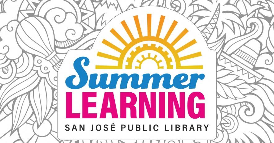 Un gráfico del logotipo de nuestro programa de Aprendizaje de verano coloca en la parte superior un garabato esbozado con temas de verano.