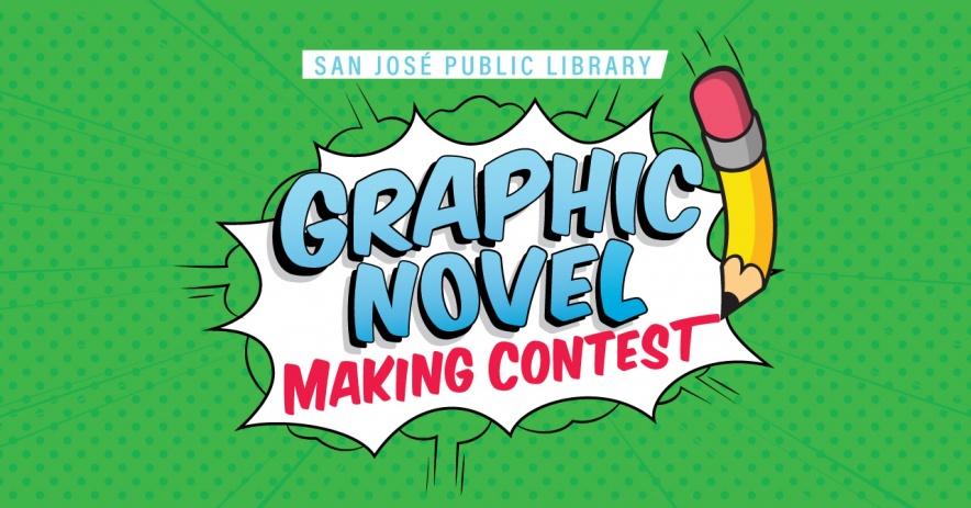"""Una imagen gráfica con un lápiz y las palabras """"Concurso de creación de novelas gráficas"""" en una ráfaga de cómics sobre un fondo verde"""