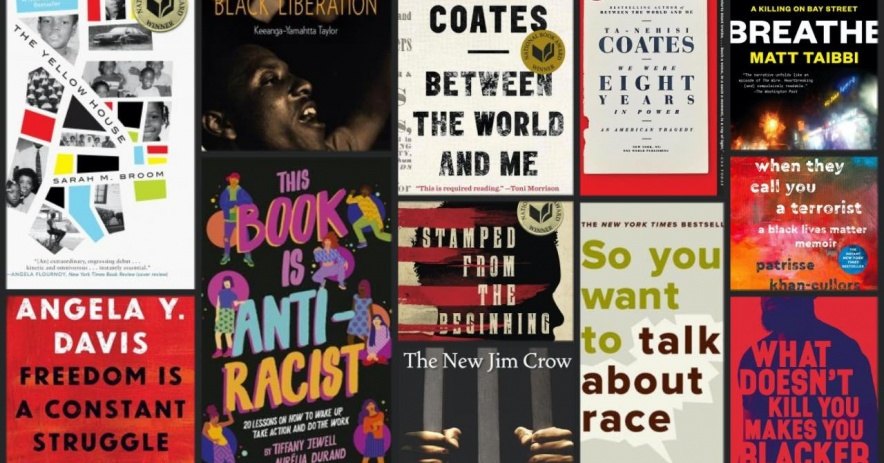 Covers of books about racism