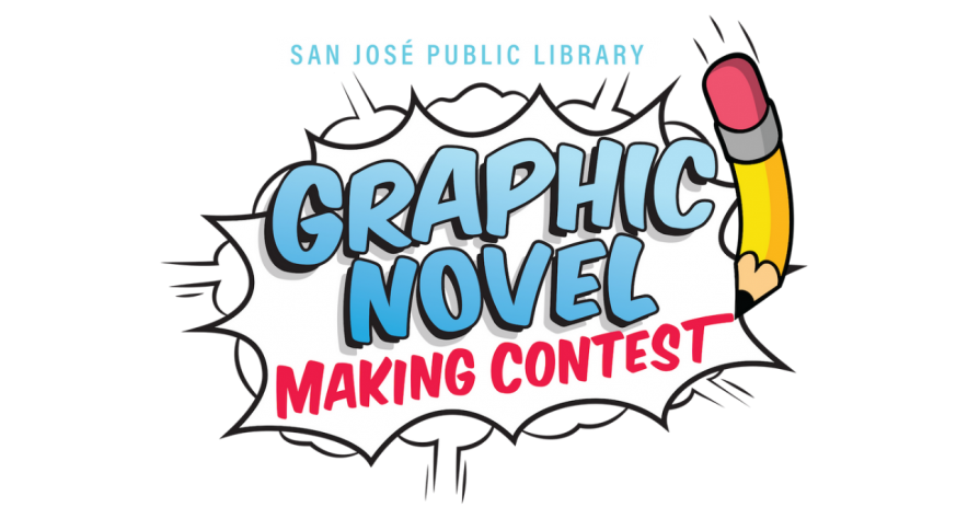 The logo for the Graphic Novel Making Contest, including the contest name with a pencil illustration on the right.