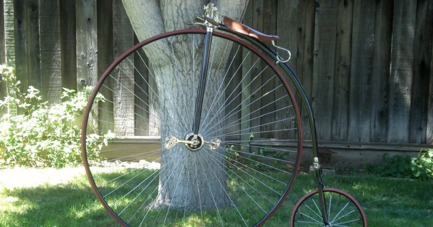 Image:  Ralph's restored 1887 high wheel bicycle stands against a tree.