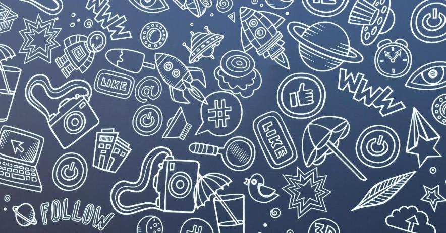 Un fondo azul con imágenes delineadas en blanco que tienen iconos y frases populares en Internet.