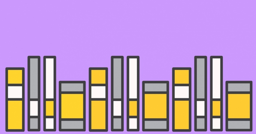 books on a light purple background