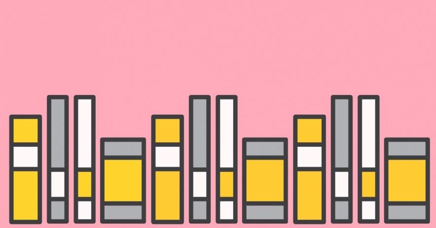 libros sobre un fondo rosa claro