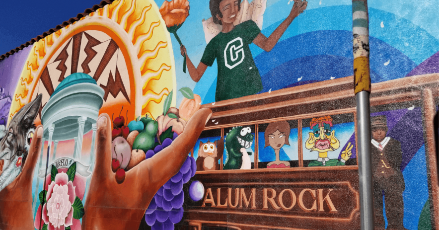 "Image of the mural ""Valley of the Heart's Delight"" on Alum Rock Ave and White Rd. This mural is part of the StoryWalk route."