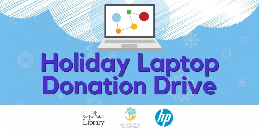 A graphic icon of a laptop on a white cloud with a blue background, with the words Holiday Laptop Donation Drive.